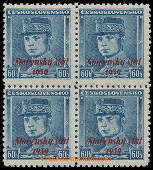 194430 -  Sy.11, modrý Štefánik 60h, ve 4-bloku; zk. Ša