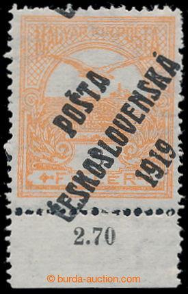 194598 -  Pof.91, Turul 3f oranžová, II. typ přetisku, krajový kus s