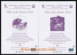 194616 - 2016 PPM19-20, Day of Czech Philately, invitation-cards post