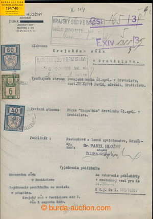 194740 - 1939 SLOVAKIA court document with mixed franking Czechosl. p