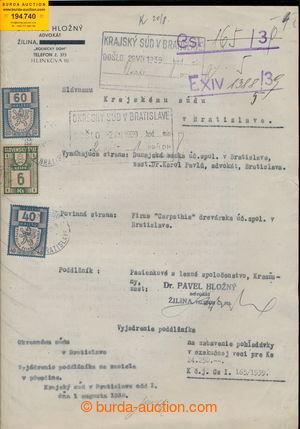 194740 - 1939 SLOVENSKO soudní spis se smíšenou frankaturou čs. soubě