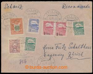 194750 - 1920 R-dopis zaslaný do Švýcarska s bohatou frankaturou 7ks