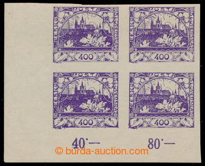 194811 -  Pof.24, 400h blue-violet, LL corner blk-of-4 with control-n