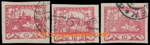 194884 -  Pof.5 plate variety, R4, 10h red, comp. 3 pcs of cancel. st
