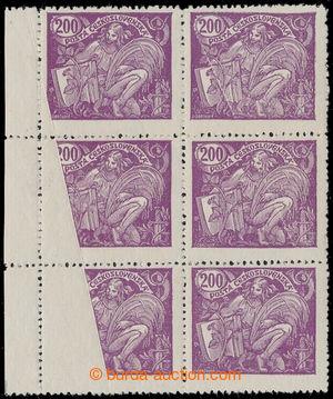 194946 -  Pof.165A, 200h fialová, krajový 6-blok s velkou šikmou tisk