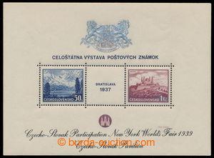 195007 - 1939 AS3f, aršík Bratislava 1937, výstava NY 1939, černý tex