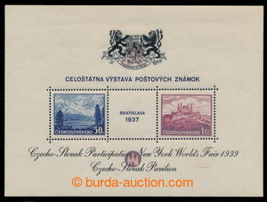 195013 - 1939 AS3a, miniature sheet Bratislava 1937, exhibition NY 19