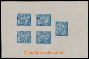 195342 -  PLATE PROOF  joined printing of 5 values (two same) - value