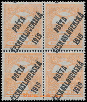 195345 -  Pof.91, 3f orange, block of four, paper without bands, over