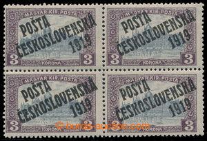 195348 -  Pof.116, 3 K violet / grey, block of four, overprint types