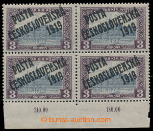 195349 -  Pof.116, 3 K violet / grey, block of four with lower margin