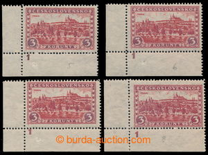 195352 - 1926 Pof.226xI, Prague, Tatras 3Kč red, set of 4 corner pie