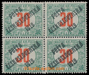 195354 -  Pof.139, Red numerals 30f green / red, block of four, all o