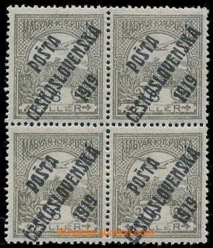 195356 -  Pof.92, 6f olive / black, block of four, overprint types II