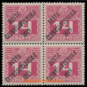 195357 -  Pof.68, Large numerals 14h red, block of four, overprint ty