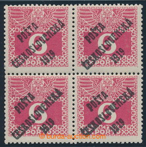 195358 -  Pof.67, Large numerals 6h red, block of four, overprint typ