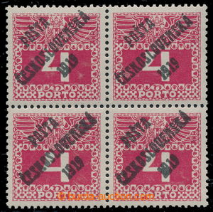 195360 -  Pof.66, Large numerals 4h red, block of four, overprint typ