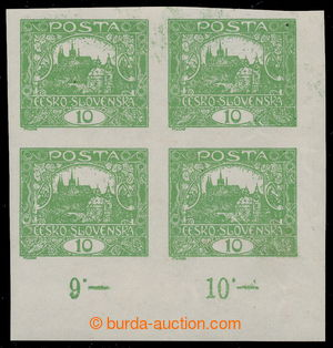 195361 -  Pof.6, 10h green, lower left corner block-of-4 with control