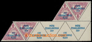 195371 -  Pof.55, 4 K + 2KN, Triangle 2h brown-red, block of 4 stamps