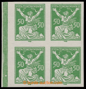 195377 -  Pof.156N, 50h green, marginal IMPERFORATED block of four (!