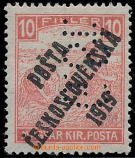 195379 -  Pof.99p, White numerals 10f red with perfin G.St. in positi