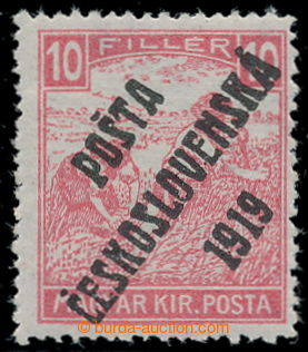 195380 -  Pof.99, White numerals 10f red, overprint type IV.; hinged,