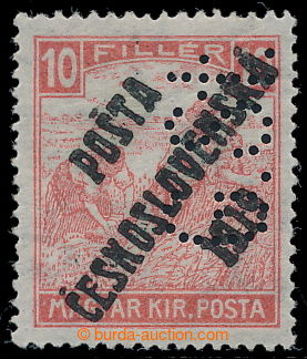 195381 -  Pof.99p, White numerals 10f red with perfin G.St. in positi