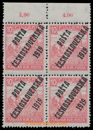 195382 -  Pof.99, White numerals 10f red, marginal block-of-4 with co