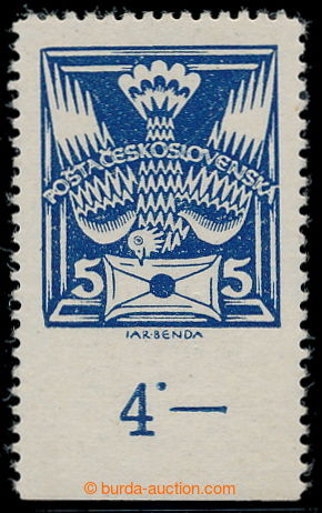 195403 -  Pof.143B, 5h blue with lower margin with control-number and