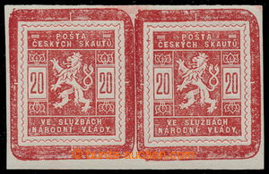 195417 - 1918 Pof.SK2, Scout stamps 20h red, joined printing of 2 sta