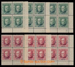 195430 - 1926 Pof.183-184 plate numbers, Festival 50h green, 3x corne