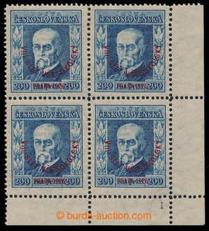 195432 - 1926 Pof.185 plate number, Festival 200h blue, lower corner