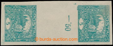 195473 -  Pof.4Ms(2), 5h blue-green, SAME FACING 2-stamps unissued gu