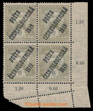 195490 -  Pof.92x, 6f olive / black, lower corner block of 4 with con