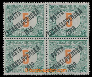 195491 -  Pof.133, Red numerals 5f green / red, block of four, joined