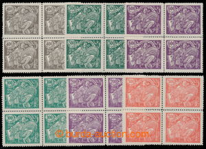 195493 -  Pof.164A-169A, 100h - 600h, complete set in blocks of four,