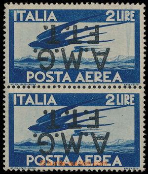 195528 - 1947 TERST A / Posta Aerea Sass.2, 2-páska 2 Lire s PŘEVRÁCE
