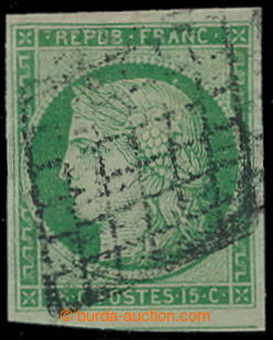 195823 - 1849 Mi.2, Ceres 15C green, postmark grille; very fine piece