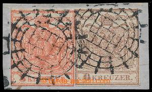 196033 - 1850 Ferch.3HIa + 4HIa, Coat of arms 3 Kreuzer + 6 Kreuzer h