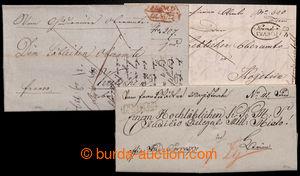 196422 - 1833-1835 ČESKÉ ZEMĚ / sestava 3ks dopisů - s červeným rámeč