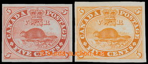 196443 - 1859 SG.31, two imperforated PLATE PROOFS for issue Beaver 5