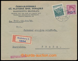 196522 - 1939 commercial Reg letter to Prague with mixed Czechosl. -