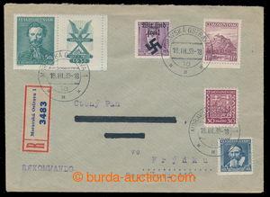 197224 - 1939 MORAVSKÁ OSTRAVA  Reg letter with mixed franking Czecho