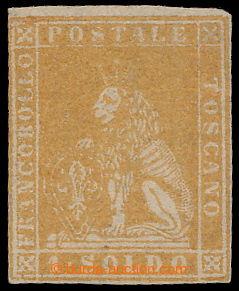 197264 - 1857 Sass.11, Lion 1 Soldo ocra II. wmk; new gum, close but