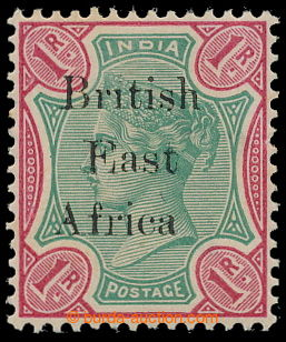 197321 - 1895-1896 SG.60b, Indian 1 Rupee green / carmine with overpr