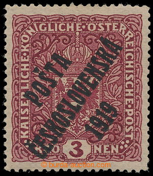197575 -  Pof.49aII, Coat of arms 3 K dark red, WIDE format, overprin