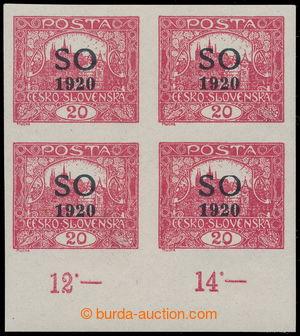 197584 -  Pof.SO7 STp, Hradčany 20h karmínová, NEZOUBKOVANÝ 4-BLOK (!