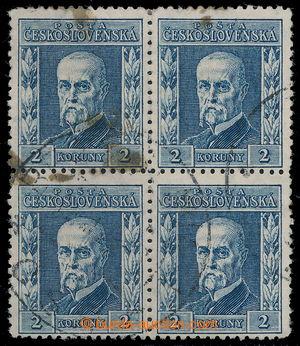 197589 - 1925 Pof.195II, Rytina 2Kč modrá, II. typ, ŘZ 13¾, 4-bl