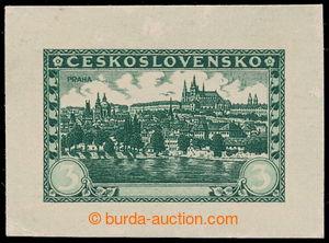 197627 - 1926 PLATE PROOF Pof.226, Prague 3Kč, plate proof in dark gr