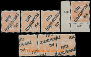 197672 -  Pof.91, Turul 3h oranžová, sestava všech 4 typů přetisku, z